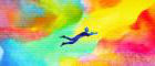 man flies in abstract dreamscape